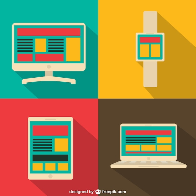 Digital screens in flat design