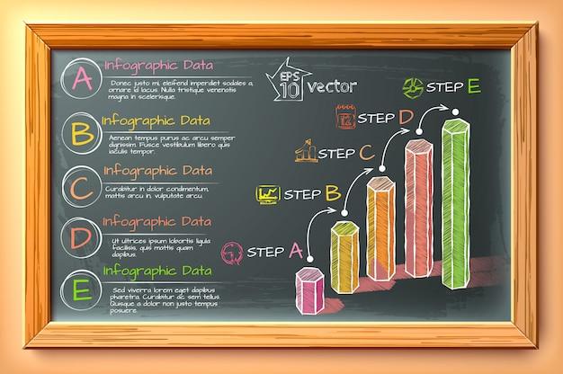 Цифровая инфографика эскиза с шестиугольными столбцами, пять шагов текстовых значков на доске в деревянной рамке Premium векторы