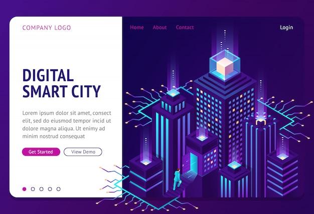 Digital smart city isometric landing page banner Free Vector