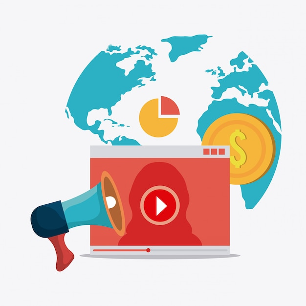 Digital and social marketing Free Vector