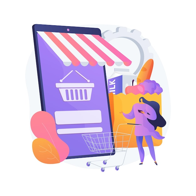 Digital supermarket abstract concept vector illustration. digital purchase, information technology, online payment, grocery store, mobile retail application, shopping discount abstract metaphor. Free Vector