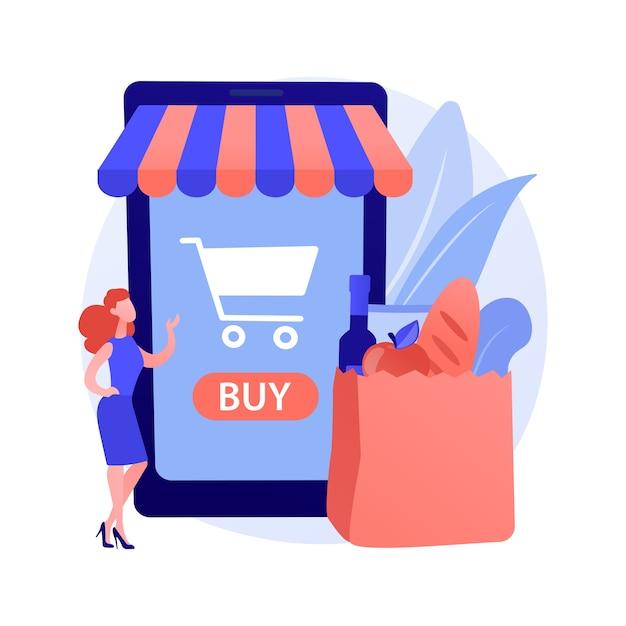 Абстрактное понятие цифрового супермаркета Бесплатные векторы