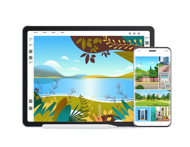 화면에 아름다운 배경 화면이있는 디지털 태블릿 및 스마트 폰 현실적인 모형 가제트 및 장치 프리미엄 벡터