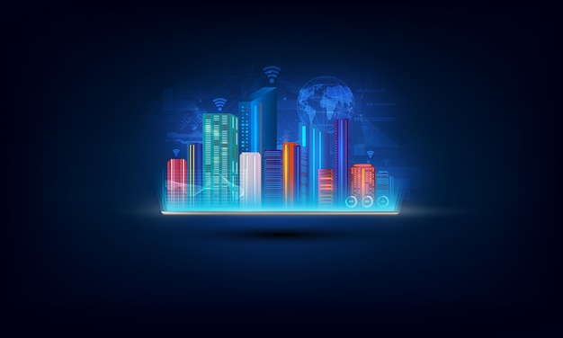 スマートシティを備えたデジタルタブレット、モノのインターネットのネットワーク。 Premiumベクター