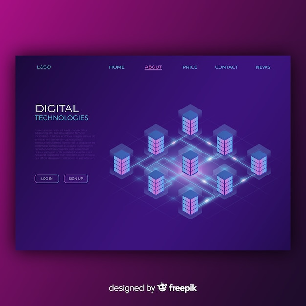 Digital technologies landing page Free Vector