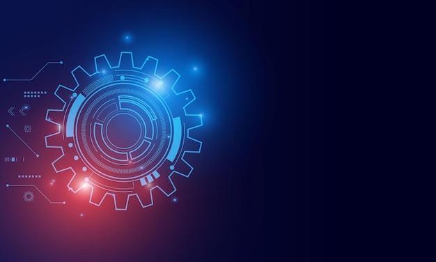 Цифровые технологии и инженерия, концепция цифровых телекоммуникаций, высокие технологии, футуристический технологический фон Premium векторы