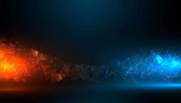파란색과 주황색 조명 효과와 디지털 기술 배경 무료 벡터
