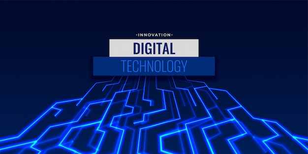 Digital technology background with glowing circuit lines Free Vector