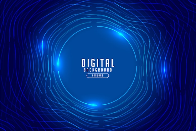 Tecnologia digitale blu con luci incandescenti Vettore gratuito