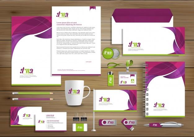Digital technology corporate identity stationary Premium Vector