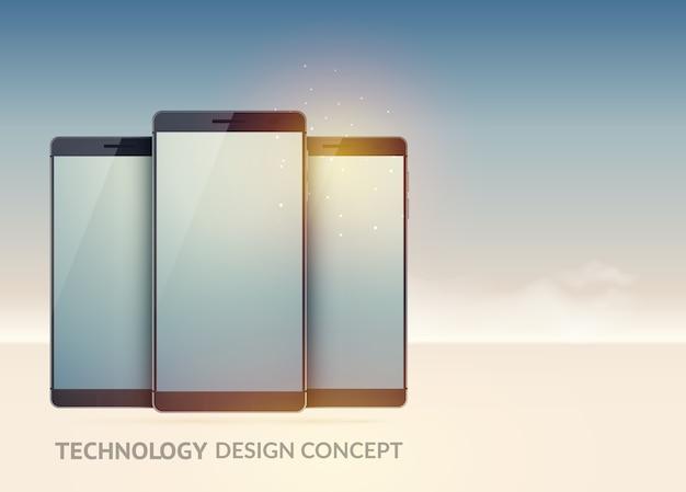 고립 된 빛에 현실적인 현대 스마트 폰 디지털 기술 장치 개념 무료 벡터