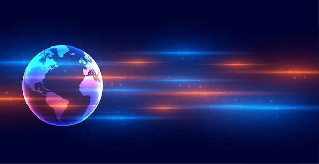 Digital technology earth banner with light streaks Free Vector