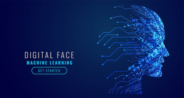 Digital technology face artificial intelligence Free Vector