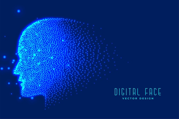 Digital technology face made with particles Free Vector