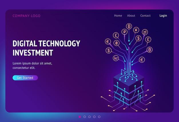 Digital technology investment isometric landing Free Vector