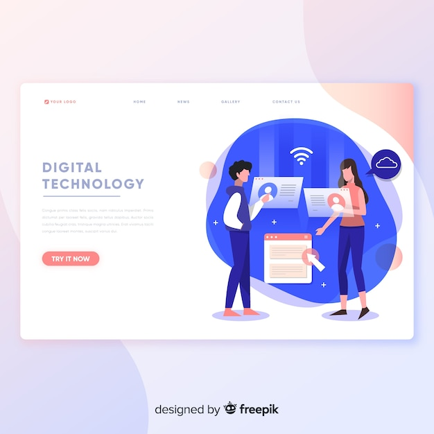 Digital technology landing page template  Free Vector