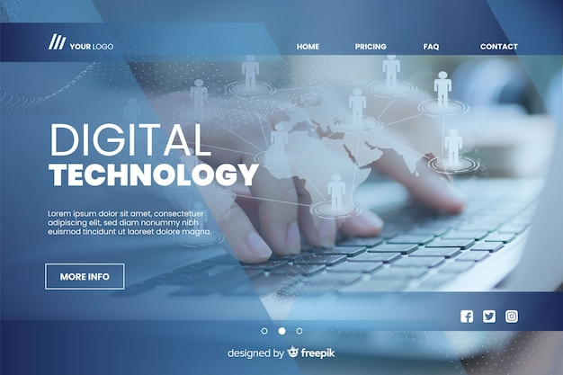 Digital technology landing page with photo Free Vector