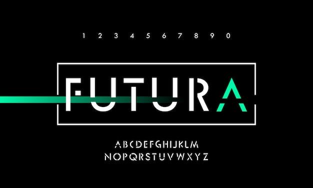 Digital technology modern alphabet fonts Premium Vector