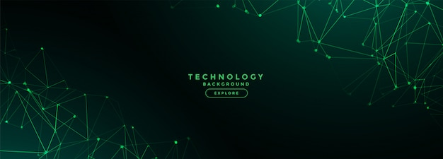 Digital technology network lines mesh banner Free Vector