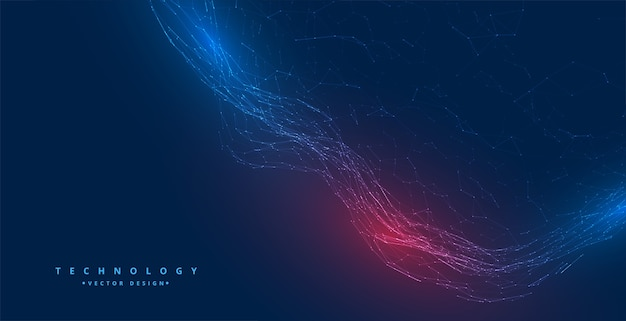 Digital technology network particles wave background design Free Vector