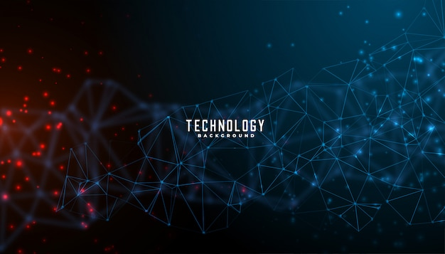Digital technology and particles mesh background design Free Vector