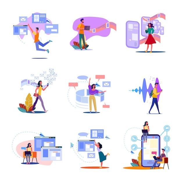 Set di tecnologia digitale Vettore gratuito