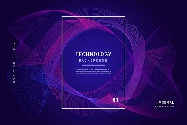 Digital technology wave lines mesh geometric background Free Vector