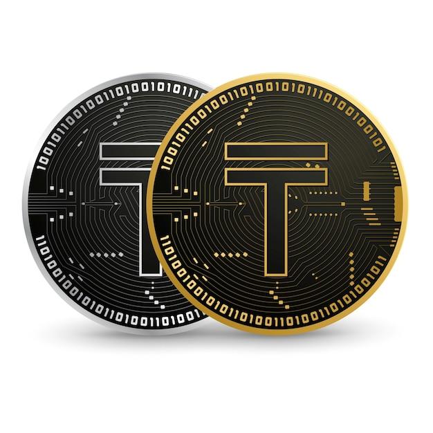 Цифровая монета черного золота в тенге | Премиум векторы