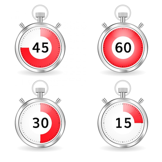 Digital timers set stopwatch collection timers with arrow and red time bar Premium Vector