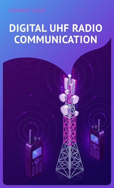 Digital uhf radio communication isometric banner Free Vector