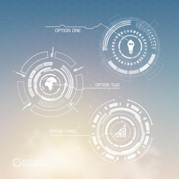 抽象的な形のビジネスアイコンと光の3つのオプションを持つデジタル仮想インフォグラフィックテンプレート 無料ベクター