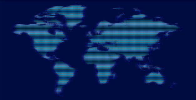 Digital world map made with glowing lines Free Vector