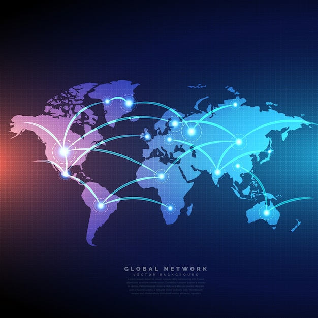 Digital world map Free Vector