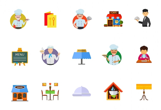 Dining in restaurant icon set Free Vector
