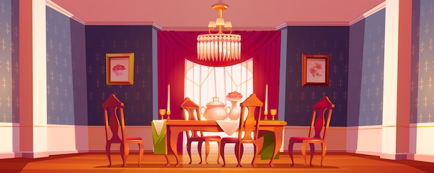 Free Vector Dining Room Interior In Classic Victorian Style