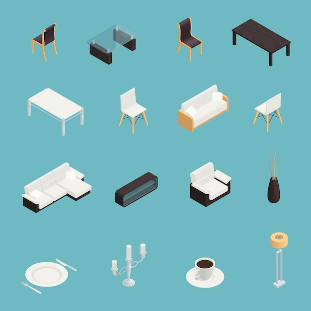 Dining room interior icons set Free Vector