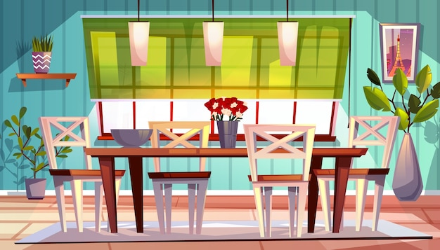 Dining room interior illustration of modern or retro apartment or summer terrace Free Vector