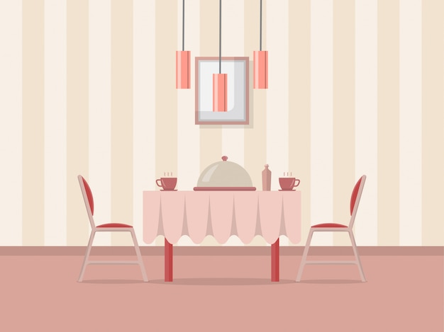 Dining room interior illustration Premium Vector