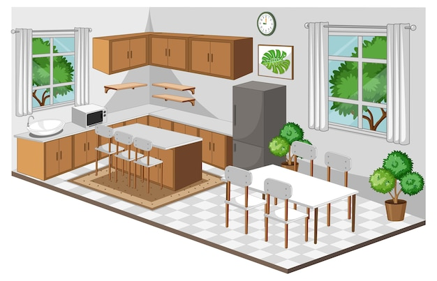 Dining room interior with furniture in modern style Free Vector