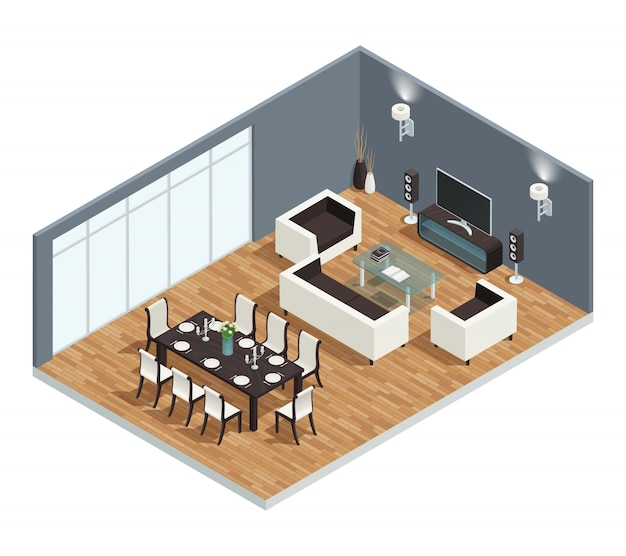 Dining room isometric concept with tv table and chairs Free Vector