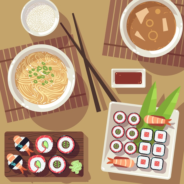 Dining table with japanese food top view Premium Vector