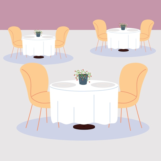 Premium Vector Dining Tables And Chairs For Two People
