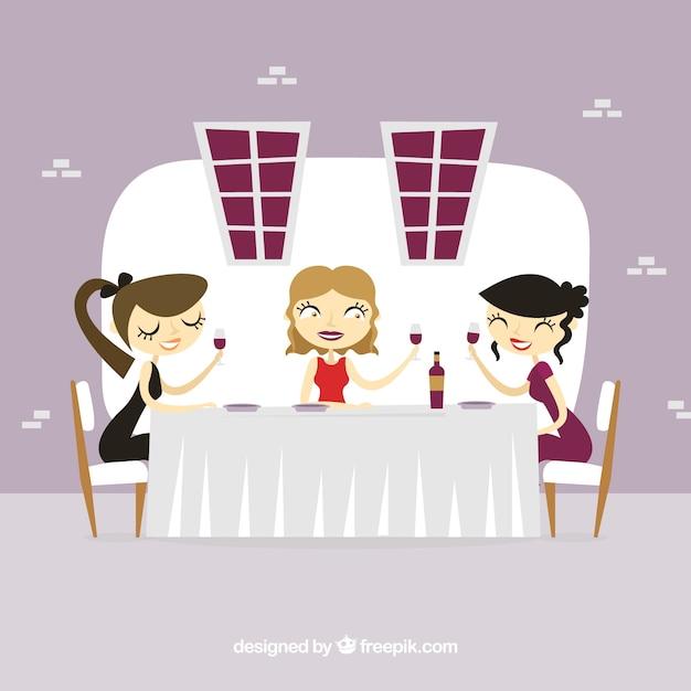 Dinner scene of girls in a restaurant