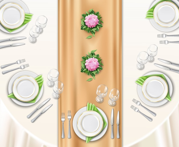 Dinner table set up Free Vector
