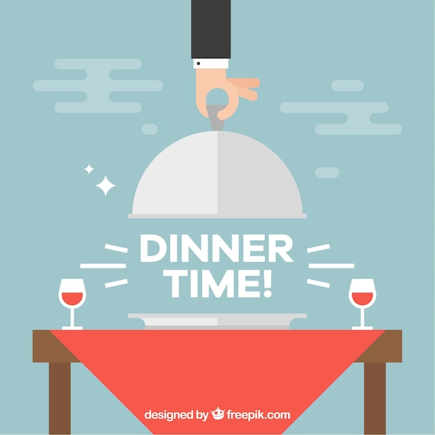 Dinner time composition with wine glasses Free Vector
