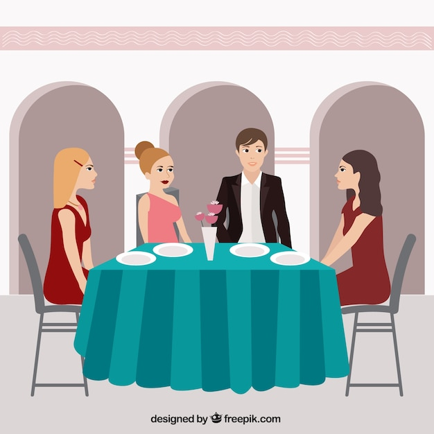 Dinner With Friends In A Restaurant Vector Free Download