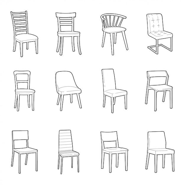 Dinning chair illustration set Premium Vector