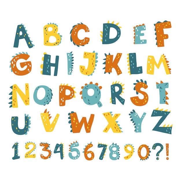Dino alphabet numbers Premium Vector