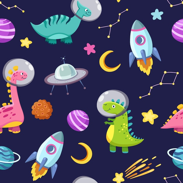 スペースのシームレスパターンの恐竜。かわいいドラゴンのキャラクター、星、惑星と恐竜の旅銀河。子供の漫画の背景 Premiumベクター