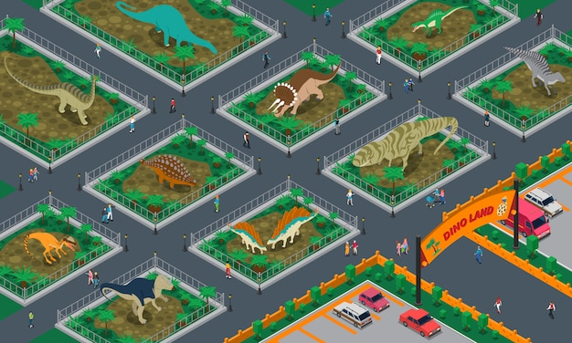 Dino land isometric composition Free Vector